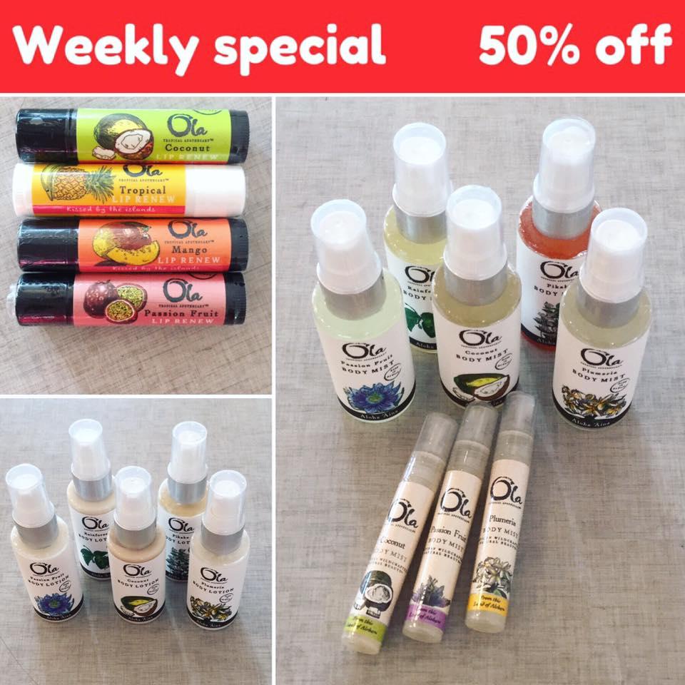 50% OFF! Tropical Apothecary lip balms, body mists!