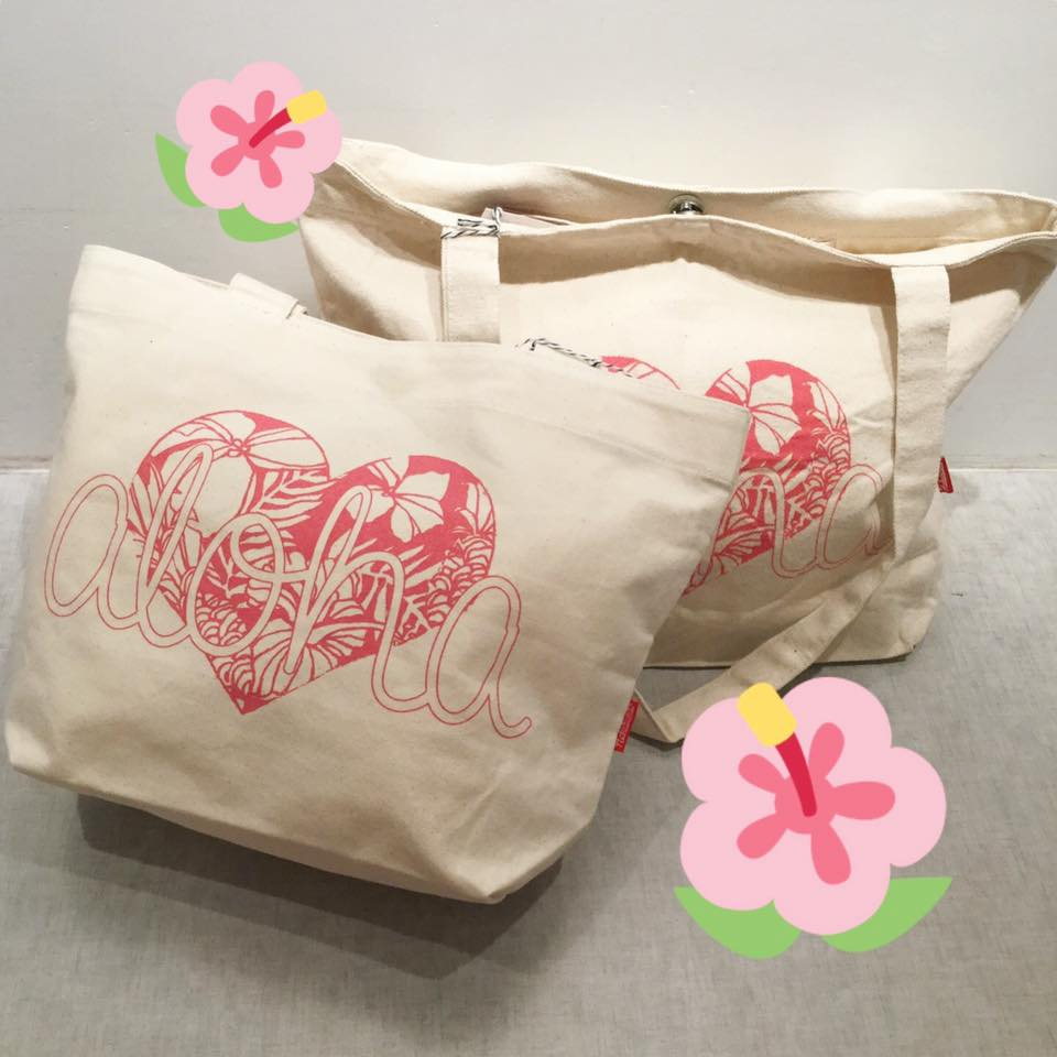 Small pink aloha tote is back in stock!
